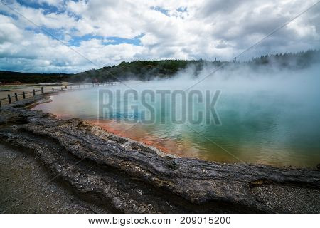 Champagne Pool In Rotorua, New Zealand At Sunrise