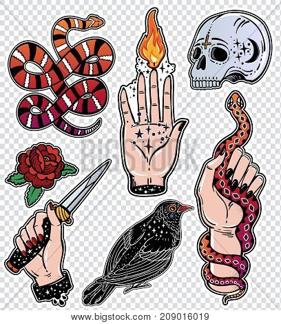 Set of macabre occult witchcraft desings, magic, eerie, gothic style classic flash tattoo patches or elements. Set of traditional stickers, pins, badges. Fashionable vector collection, stiker kit.