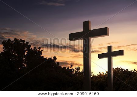 Christian Cross In The Field With Trees