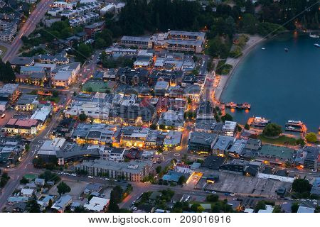 Houses In City Center Of Queenstown In Aerial View