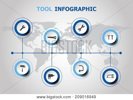 Infographic design with tool icons, stock vector
