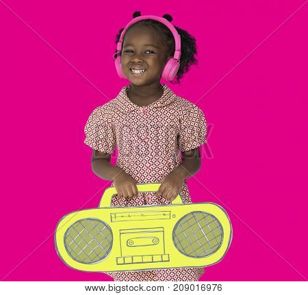 Little Girl Headphones Holding Radio