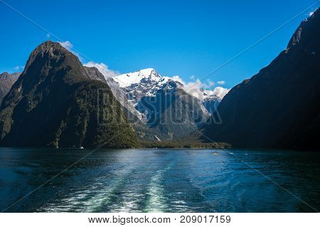 Ferry Cruise In Milford Sound, New Zealand.