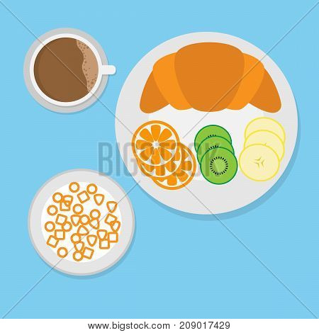 breakfast concept with croissant,cereal,fruit and coffee.vector illustration