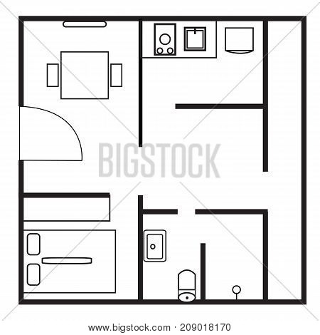 plan icon on white background. flat style. plan sign. architecture icon.floor plan icon. house plan.