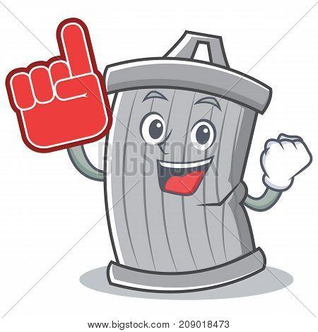 Foam finger trash character cartoon style vector illsutration