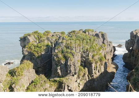 Pancake rocks an interesting limestone rock formation on the South Island of New Zealand