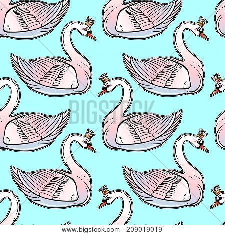Seamless vintage pin-up pattern with white swan princess. Lovely swans classic flash tattoo style element. Design for textiles, print in girly style. Pop art. Fashionable vintage repeating background.