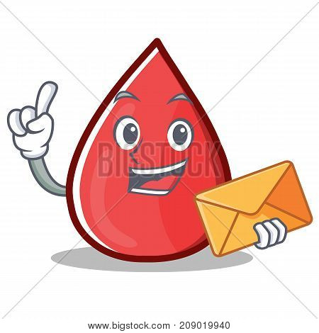 With Envelope Blood Drop Cartoon Mascot Character Vector Illustration