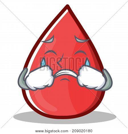 Crying Blood Drop Cartoon Mascot Character Vector Illustration