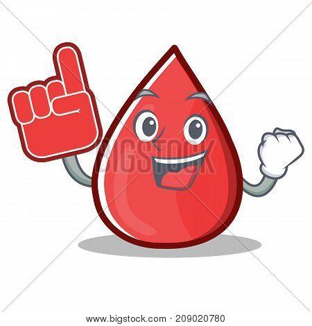 Foam Finger Blood Drop Cartoon Mascot Character Vector Illustration