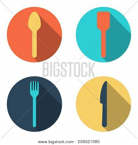 Fork spoon and knife cutlery flat icon set vector