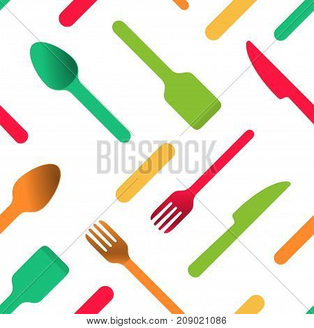 Multicolored cutlery icons on white background, seamless pattern