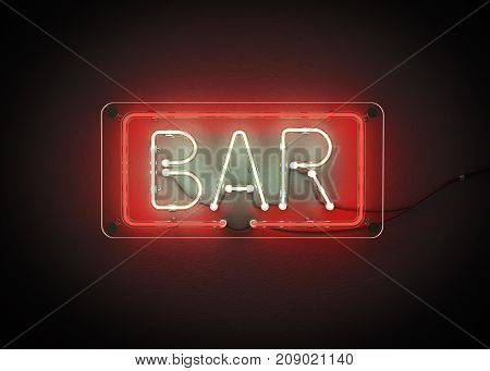Bar sign made from neon alphabet on a black background. 3D illustration