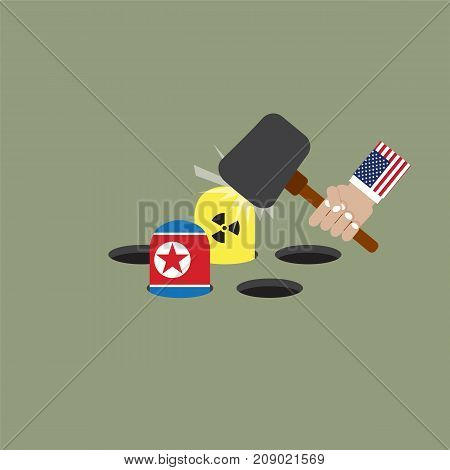 The President Of The United States of America Trying To Hit The Nuclear And North Korean Flag Vector Illustration. EPS 10