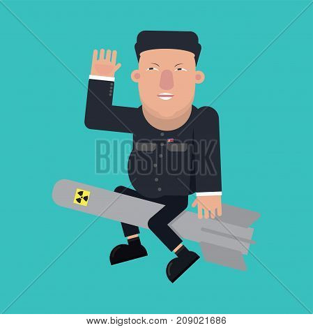 September, 2017: Illustration Flat Design Of Supreme Leader Of North Korea, Kim Jong Un On Atomic Bomb