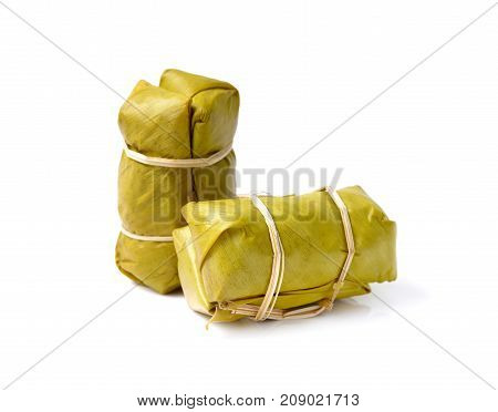 Sweet Thai sticky rice with banana Traditional Thai food style Glutinous rice steamed in banana leaf ( Khao Tom Mat)