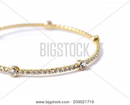 bracelet with diamonds isolated on white background