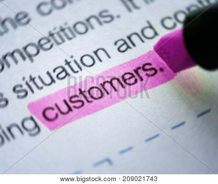 Closeup of highlighted customers word