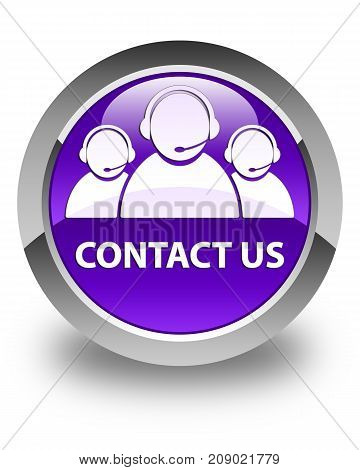 Contact Us (customer Care Team Icon) Glossy Purple Round Button