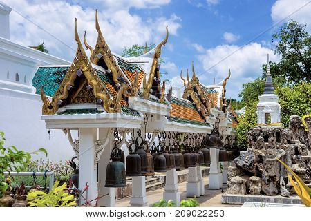 Row of bells in the pavilion of Phrabuddhabat temple Saraburi Province Thailand