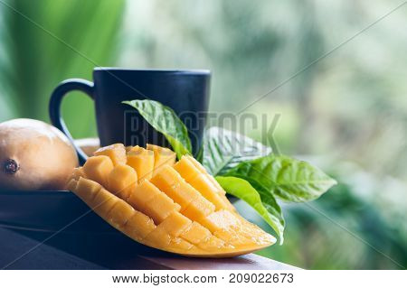Mango tea. Mango in natural conditions on a beautiful tropical background. Exotic fruits