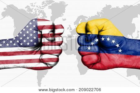 Conflict Between Usa And Venezuela - Male Fists