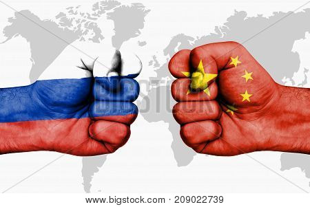 Conflict Between Russia And China - Male Fists