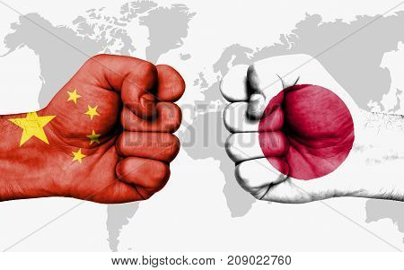Conflict Between China And Japan - Male Fists