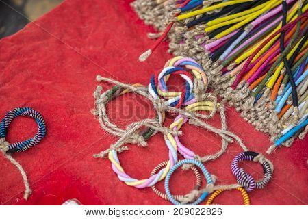 Rope bracelet on street shop or cheap rope bracelet.