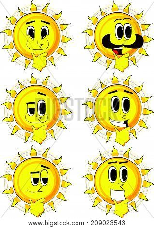 Cartoon sun thinking. Collection with happy faces. Expressions vector set.
