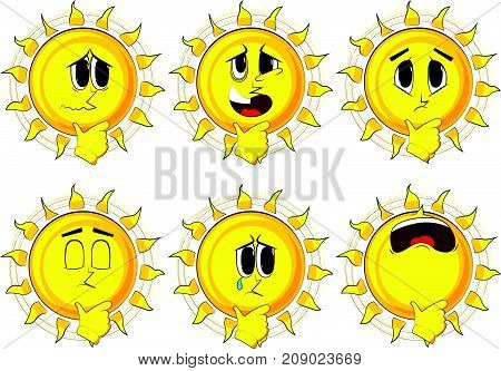 Cartoon sun thinking. Collection with sad faces. Expressions vector set.