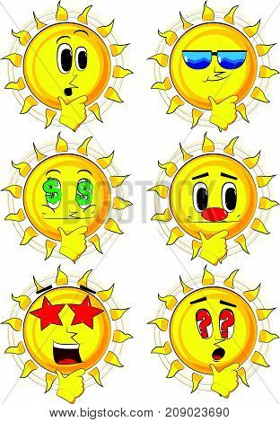 Cartoon sun thinking. Collection with various facial expressions. Vector set.