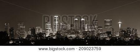 Calgary skyline in Alberta at night, Canada.