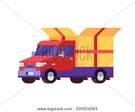 Delivery truck with opened gift box vector illustration in flat design. Cartoon van with present or package. Red cargo car. Delivering service icon.