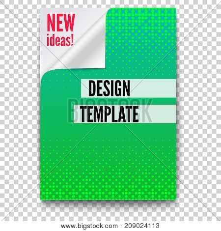 Paper poster with creative idea and curved corner on transparent background. Layout template in A4 size, business brochure, flyer design. Sheet of paper with the folded corner, 3D illustration