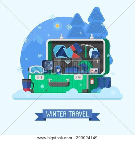 Winter suitcase full of vacation clothes and things for wintertime holidays. Open suit case on mountain ski resort with sport stuff for trip. Packing luggage for travel concept vector illustration.