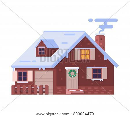 Winter house with smoking chimney vector illustration. Snowy christmas cottage isolated on white background. Alpian chalet building. Wintertime country stone home with decorations and snow drifts.