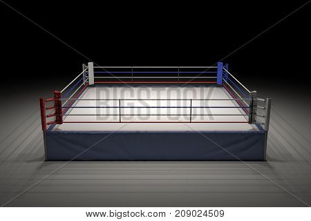 3d rendering of an empty boxing ring in the dark with its center spotlighted. Show night. Boxing match. Late night fighting competition.