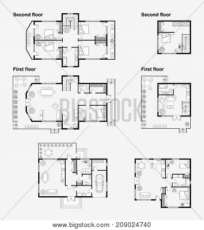 Set of Black and White architectural plans of a house. Layout of the apartment with the furniture in the drawing view. Vector illustration