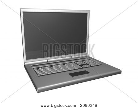 3D Laptop Side View Isolated