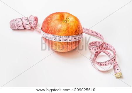 Red Apple With Measuring Tape - Diet Concept