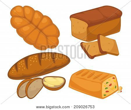 Bread flat icons set for bakery shop or patisserie. Vector isolated illustration for baked pastry sorts