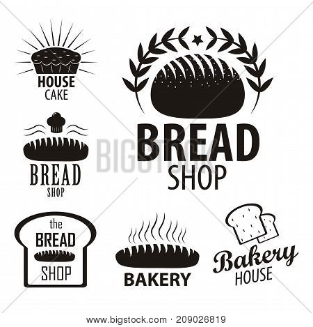 Bakery logotypes set. Bakery vintage black and white design elements, logos, labels, badge, icons and objects. Vector Illustration.