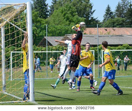 KAPOSVAR, HUNGARY - JUNE 11: David Aladics (goalkeeper) in action at the Hungarian National Championship under 13 game between Kaposvari Rakoczi FC and Bajai LSE June 11, 2011 in Kaposvar, Hungary.