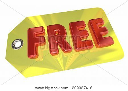 Free Price Tag No Cost Fee Word 3d Illustration