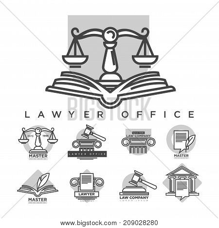 Law company logotypes collection in grey color isolated on white. Vector poster of symbols and signs characterising justice and legal rules, special scales and gavel, lawyer office logo design