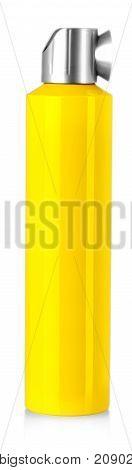 Yellow spray bottle isolated on white background.