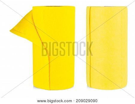 Top view of yellow felt fabric rollesl isolated on white