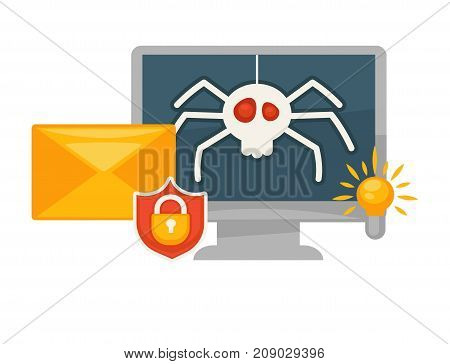 Modern secure antivirus program for computers promotional banner isolated cartoon flat vector illustration on white background. Monitor with spider picture, bright lamp and envelope with lock icon.